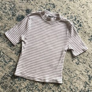 Ribbed, striped high neck T